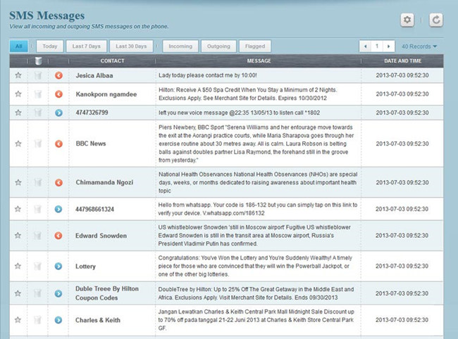 View all SMS messages sent or received